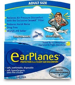 Ear Plugs - Airplane Travel Ear Protection And Pain Reliever (3-Pair - Adult) (Pack of 3 (3 pairs ea))