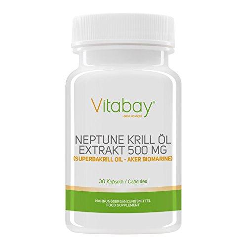 Vitabay Neptune Krill Öl 500 mg -30 Softgels - Reich an Omega-3 Fettsäuren - Hohe Bioverfügbarkeit