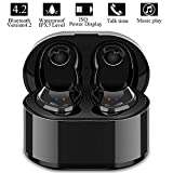Wireless Earbuds, True Wireless Stereo Earphones Sports Mini Bluetooth 4.2 Cordless Headset in Ear Car Headphones with Mic and Charging Box for iPhone iPad Android Smartphones Tablets, Laptop