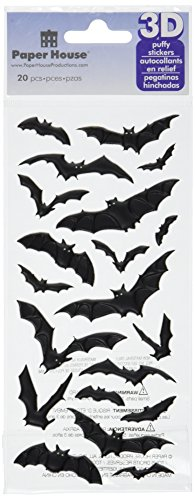 Paper House Productions STP-0043E Halloween Bats Puffy Stickers (3-Pack) -