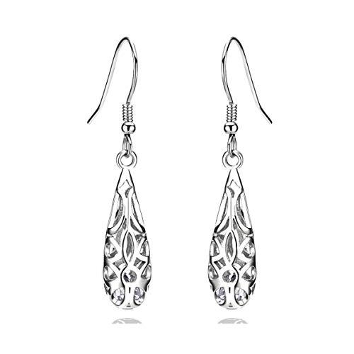 (Waterdrop 925 Sterling Silver Filigree Dangle Earrings for Women)
