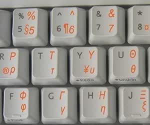 Qwerty Keys Griegos Teclado Pegatinas Transparentes con Letras ANARANJADAS: Amazon.es: Electrónica