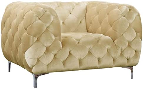 Meridian Furniture Mercer Collection Modern Contemporary Low Back, Velvet Upholstered Armchair with Deep Button Tufting, and Custom Chrome Legs, Beige, 47 W x 35 D x 28.5 H