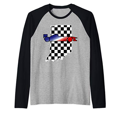 Checkered Flag Indiana with Red White and Blue Racecar Raglan Baseball Tee
