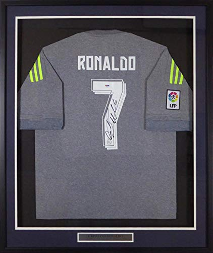 Signed Cristiano Ronaldo Jersey - Framed Fly Emirates Adidas Grey Stock #131923 - PSA/DNA Certified - Autographed Soccer Jerseys -