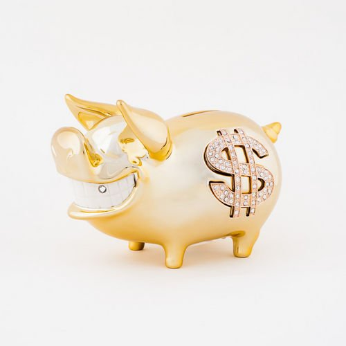 Biggy Piggy Money Bank Goldplated Ceramic