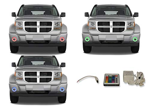 FLASHTECH for Dodge Nitro 07-12 V.3 Fusion Color Change RGB Multi Color LED Halo Ring Fog Light Kit with IR Remote