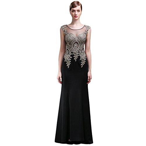 Lemai Jersey Black Crystals Gold Lace Sheer Mermaid Long Formal Evening Prom Dresses US14
