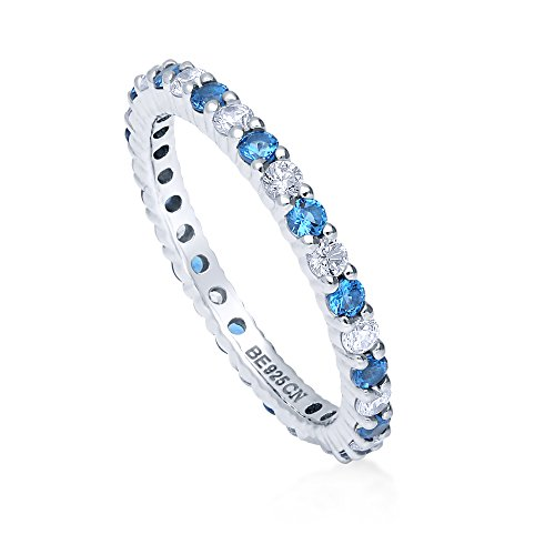 BERRICLE Rhodium Plated Sterling Silver Simulated Blue Topaz Cubic Zirconia CZ Stackable Anniversary Fashion Right Hand Eternity Band Ring