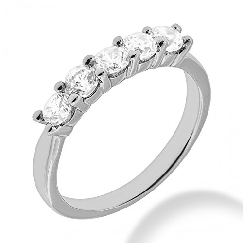 2.00 ct. Ladies Five Stone Round Cut Diamond Wedding Band in Shared Prong Mounting in Platinum In Size - Round Platinum Band