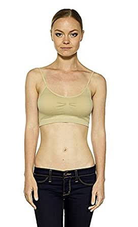 CordiU seamless Padded Cami Bra Top Adjustable Straps One Size (One Size, White)