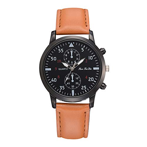 XBKPLO Quartz Watches for Mens PU Leather Band Alloy Military Fashion Wrist Business Simulated Machinery (Coffee)