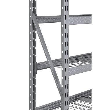 Heavy-Duty 4-Level Welded Steel Treadplate Rack with Wire Shelves