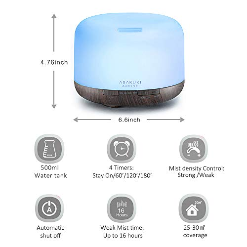 ASAKUKI 500ml Premium, Essential Oil Diffuser, 5 In 1 Ultrasonic Aromatherapy Fragrant Oil Vaporizer Humidifier, Timer and Auto-Off Safety Switch