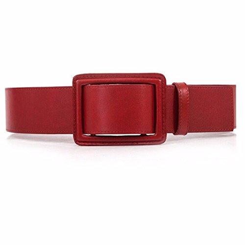 YISANLING-YD Moda Mujer Cinturón Ancho Cinto De Cuero Puro Decoración  Vestido Rojo One- 74fc04c00a71