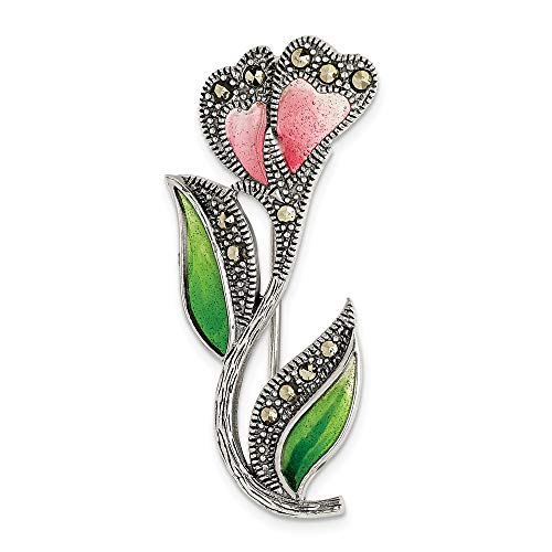 (925 Sterling Silver Red/green Epoxy Marcasite Flower Pin Fine Jewelry Gifts For Women For Her)