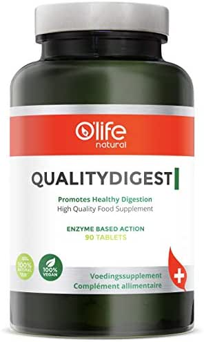 O'Life Natural's QUALITYDIGEST - Powerful Digestive Enzyme Formula (18 Enzymes) - Natural Support with Digestive Disorders - for Better Digestion - Bloating - Gas Relief - Constipation - 90 Veg Tabs