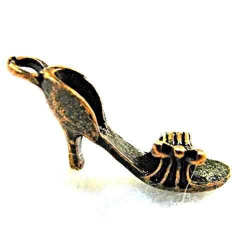 10Pcs. Tibetan Antique Copper 3D High Heel Shoe Charms Pendants Findings PR260 Crafting Key Chain Bracelet Necklace Jewelry Accessories Pendants ()