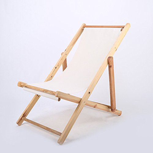 Solid Wood Beach Chair Balcony Deck Chair Office Siesta Chair Foldable Recliner Outdoors Canvas Chair (Color : B)