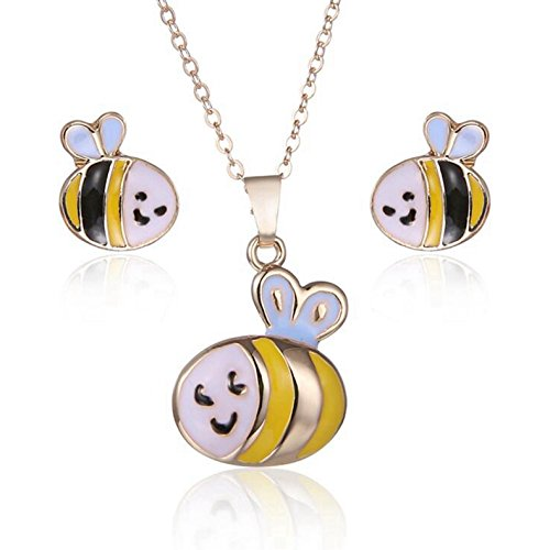 Yaoding Bee Cute Enamel Pendant Necklace Stud Earrings Set for Girls Kids Hypoallergenic Jewelry (Enamel Bee Pendant)