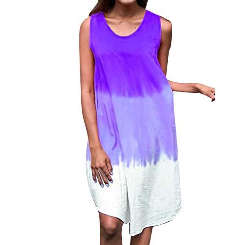 Women Tunic Shift Short Dress Summer Casual Tank Top Scoop Neck Sleeveless Gradient Printed Loose Beach Sundress (XX-Large, Purple)