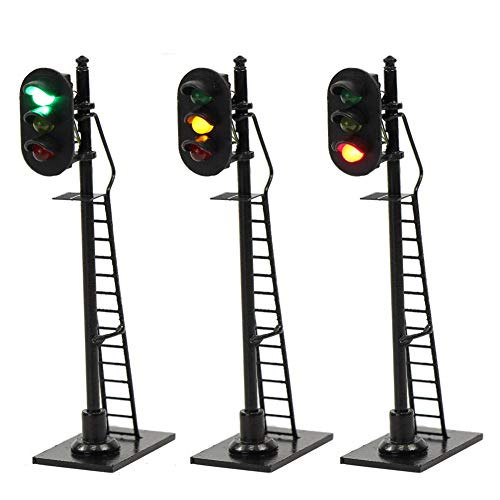 JTD878GYR 3PCS Model Railroad Train Signals 3-Lights Block Signal HO Scale 12V Green-Yellow-Red Traffic Lights for Train Layout New