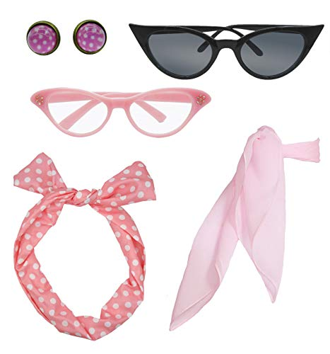 Retro 1950s Polka Dot Style Scarf Glasses Headband and Earrings Costume Accessories Set (One Size, Pink) ()