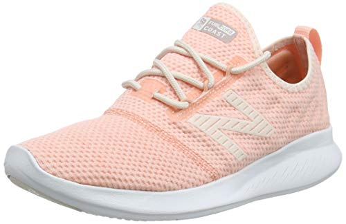 New Balance Women's Coast V4 FuelCore Running Shoe, Pink Mist/White Peach/Champagne Metallic, 10 D US