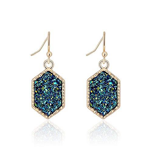 Faux Druzy Stone Dangle Earrings for Women Girls 14K Gold Plated Green Quartz Charm Fashion Jewelry (gold+green)