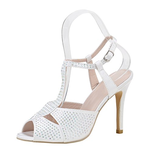 tobillo Tira Mujer napoli Weiss fashion de Strass tHx1qFz1