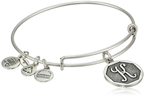 Alex And Ani Rafaelian Silver Tone Initial K Expandable Wire Bangle Bracelet  2 5