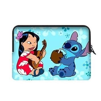 angelinana Lilo y Stitch Custom Bolsa de Ordenador portátil Cubierta Bolsa Funda Blanda para portátil Resistente al Agua para Macbook, Air y Pro de 13 (2 ...