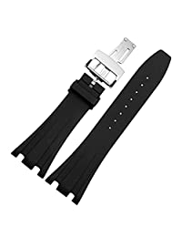 MSTRE GJ25 28mm Silicone Black Watch Band For Audemars Piguet Men's Watches (26mm, silver)