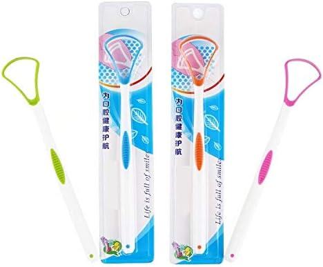 nobrand Oral Bewässerung JRC 2 PCS Zunge Coating-Reinigungs-Schaber zu Mundgeruch Tongue Pinsel zufällige Farbe Lieferung entfernen Zahnseide Reiniger