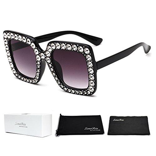 SamuRita Elton Square Diamond Rhinestone Sunglasses Novelty Oversized Celebrity Shades(Black Frame/Black Gradient Lens) Black Oversized Rhinestone