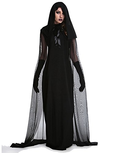 Womens Fallen Angel Costumes (Halloween Witch Costumes for Women Hooded Cloak Cosplay Party Outfit Dark Fallen Angel Dress)