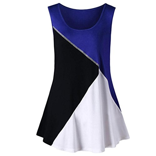 GREFER Womens New Style Sleeveless Stitches Color Block Plus Size Tank Tops Vest ()