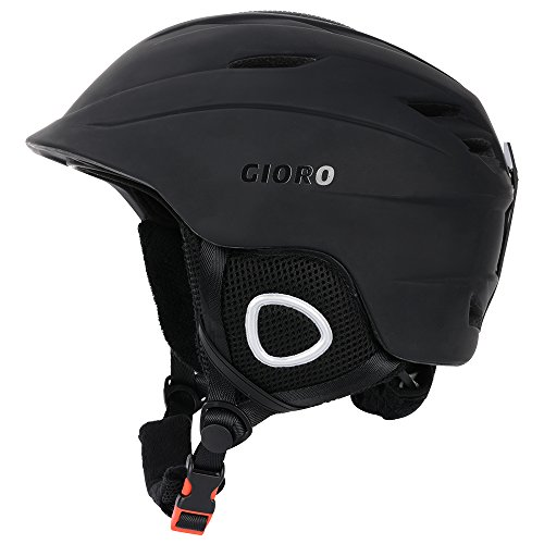 Helmet Liner Black Fleece - GIORO Multi Snow Sports Helmet,Unisex Adult Lightweight Outdoor skiing snowboard helmet with Fleece Liner and Carrying Pouch (Matte Black, L)