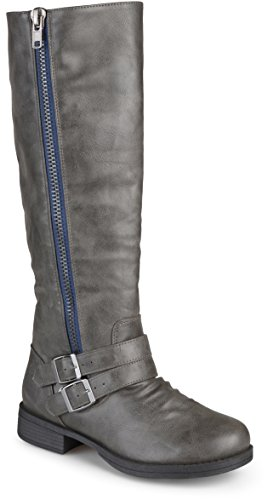 Journee Collection Womens Regular Sized and Wide-Calf Side-Zipper Buckle Knee-High Riding Boot Grey 8 Wide Calf (Grey Womens Riding Boots)