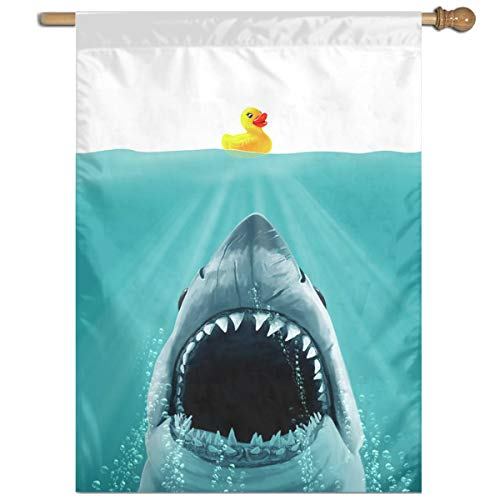 Private Bath Customiz Save Ducky from The Shark Funny Duck Welcome Holiday Yard Outdoor House Flags Banner Party Home Decor Christmas Decorations 27 X 37 Inch Christmas Holiday Duck Toy