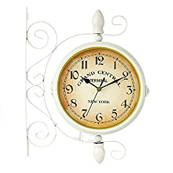 Outdoor Wall Clock,Two Sided Train Station Wall Clock,Waterproof Vintage Wall-Mounted,for Garden Hanging Décor (Color : White)