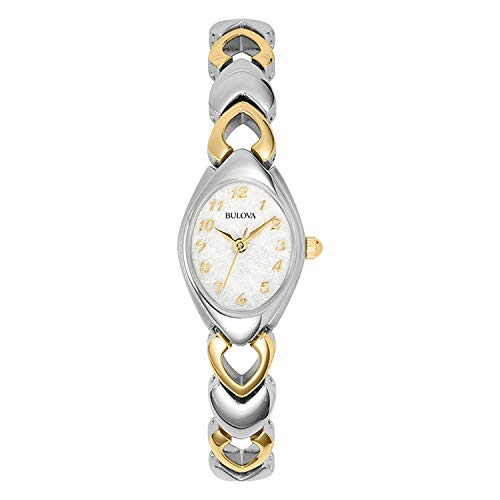 Bulova Women's 98V02 White Patterned Bracelet Watch (Ladies Two Tone White Dial)