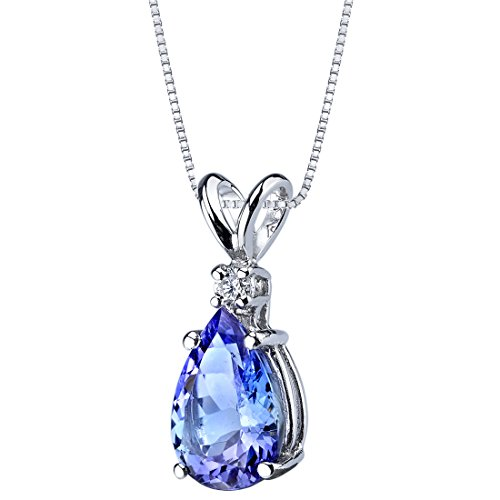 14k White Gold Tanzanite Diamond Tear Drop Pendant 2.25 Carats