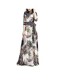 Alinementpai - Vestido para mujer, diseño de flores bohemias, manga 3/4, cuello redondo, venda de otoño, maxi vestido para fiesta, gris, M