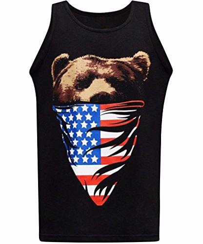 tees geek California Republic American Flag Bandana Bear Mens Muscle Tee Tank Top