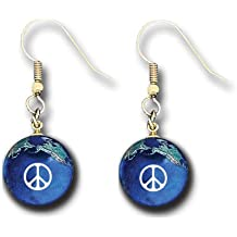 Peace Sign Earrings, Blue Earth Marbles, Natural Earth Continents