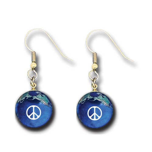 Peace Sign Earrings, Blue Earth Marbles, Natural Earth Continents ()