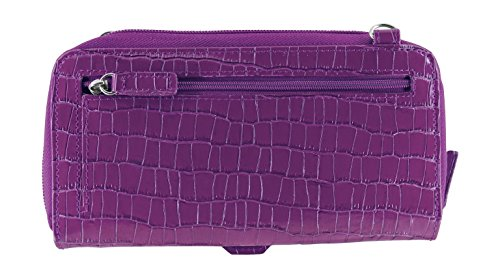 with Accordion Croco Purple Purse Phone Cell WalletBe Women's Crossbody RFID Leather Wallet ZpqgT