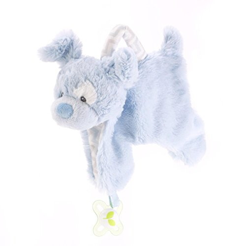 - DEMDACO Plush Pacifier Holder Blankie, Blue Dog
