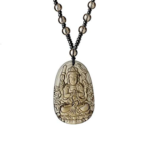Lucky Buddha Statue With New Design 2019, Meajoe Trendy Obsidian Lucky Amulet Natural Stone - Budda Necklace, Lucky Pendant, Turquoise Amulets, Lucky Brand Buddha Necklace, Thai Stone